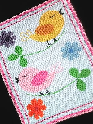 Birds and Flowers Color Graph Baby Afghan Pattern | eBay