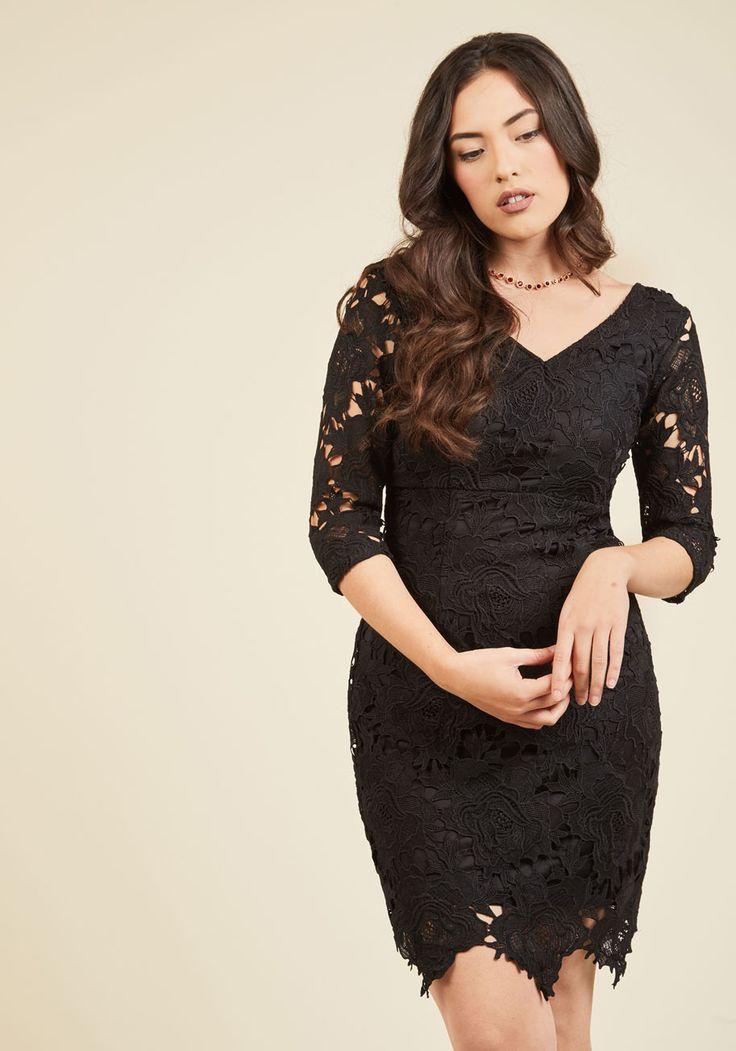 Pleased to Partake Lace Dress in Noir | Mod Retro Vintage Dresses | ModCloth.com