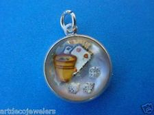 Vintage silver GAMBLING DICE REVERSE CARVED PAINTED INTAGLIO CRYSTAL charm MOP