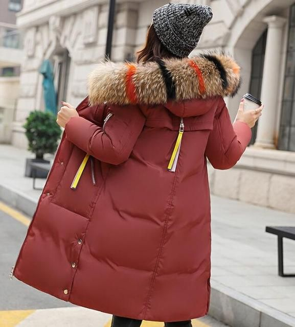 Women Winter Jacket 100% Large Real Fur Hooded 2018 New Winter Jacket Women Parka Outerwear Female Coats Woman Clothes Plus Size 2