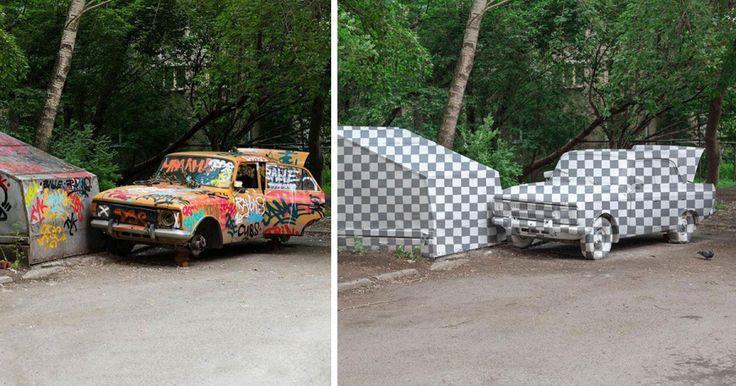 """CTRL+X: artistas urbanos """"borran"""" un coche pintando una ilusión anamórfica"""