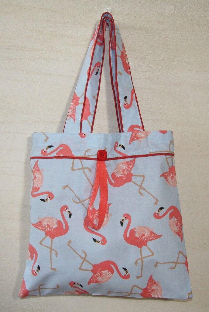 Torba Flamingi, składana, zapinana na guzik