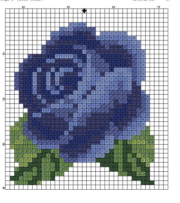 Rosa azul, flor, ponto cruz