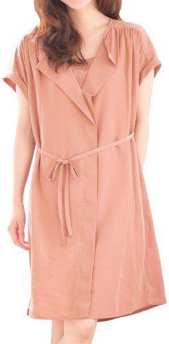 Amazon.co.jp: (プチオンフルール)Petit Honfleur キャミソールインナー付き前立てフリルワンピース: 服&ファッション小物