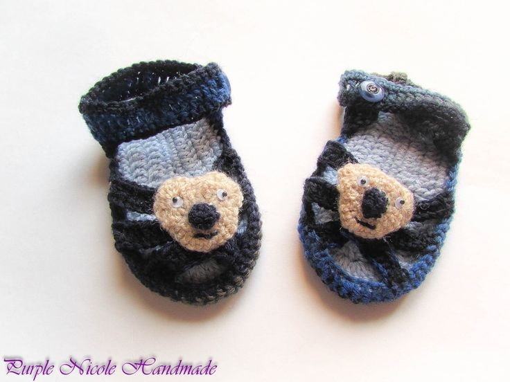 Teddy Bear - Handmade Crochet Children Bootees - Sandals by Purple Nicole (Nicole Cea Mov). Materials:blue and navy wool, light brown teddy bear with googly eyes