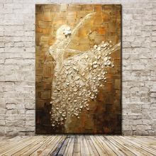 Ballet Dancer Picture Hand Painted Modern Abstract Palette Knife Oil Painting On Canvas Wall Art For Living Room Home Decoration(China (Mainland))