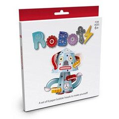 BYO (Build Your Own) this set of 8 paper bobble-heads have instructions to make them yourself.   Carefully cut out the shapes, fold, bend, glue and assemble. Set contains 16 colour printed cards and instruction sheet to make 8 robots. For ages 6+.  $9.95 www.paperproductsonline.com.au
