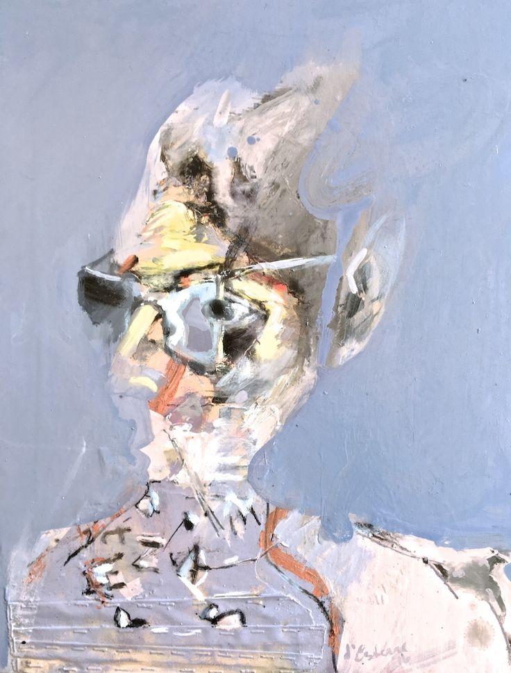 ELAINE d'ESTERRE - Desert Poet, 2016, mixed media on board, 70x52 cm. Also artwork at http://elainedesterreart.com/ and http://www.facebook.com/elainedesterreart/ and http://instagram.com/desterreart/