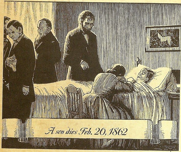 "The 11-year-old son of Abraham & Mary Lincoln lay ill in a huge carved rosewood bed, fighting  typhoid. At five p.m. on February 20, 1862, William Wallace Lincoln died. Elizabeth Keckly, the former slave who designed Mrs. Lincoln's beautiful wardrobe, washed & dressed him. When the president gazed at him, he mourned, ""My poor boy, he was too good for this earth. God has called him home. I know that he is much better off in heaven, but then we loved him so.   . . . .Christopher  Bing…"