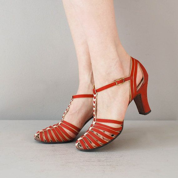 Deco Heart shoes  / 1930s heels / red 30s shoes 66.5 by DearGolden, $168.00