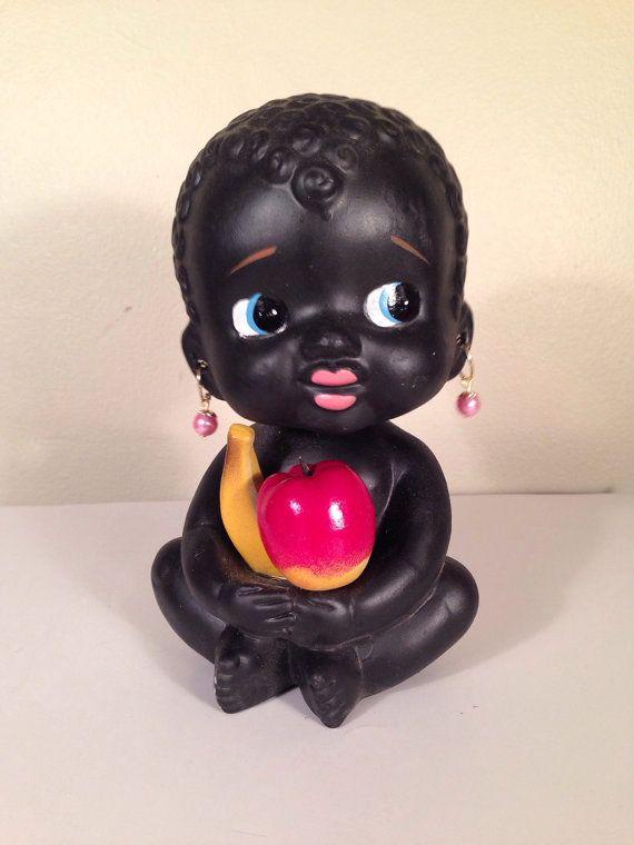 Vintage Kenmar Bobble Head Banks Fantastic Imported Souvenir African Black Americana
