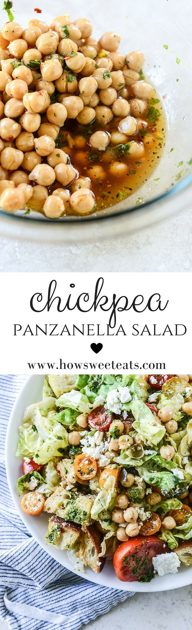 Panzanella with Marinated Chickpeas and Chimichurri by @howsweeteats I howsweeteats.com