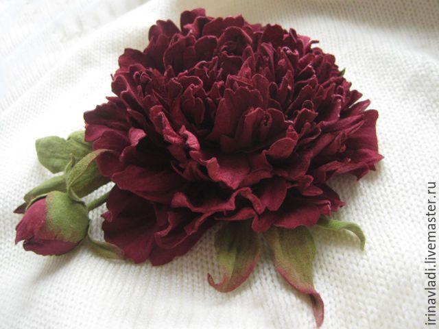 Купить Цветы из кожи .Украшение брошь заколка ВИШНЕВЫЙ ПИОН - цветы из кожи, кожаные цветы