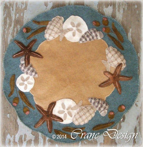 Crane Design By Jan Mott Wool Applique Penny Rug U0026 Punchneedle Patterns:  New Seashell Wool