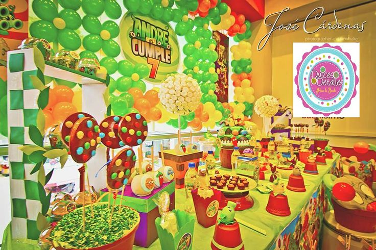 Fiesta de plants vs zombies cumplea os andr 7 a os cel for Decoracion con globos plantas contra zombies