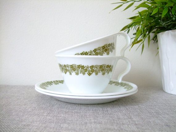 Vintage Corelle Corning Tea Coffee Cups and Saucers