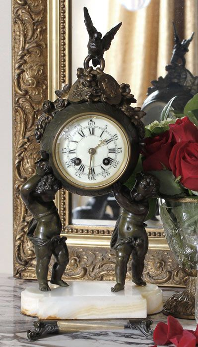 Antique Louis XVI Bronze Mantel Clock | Antique Mantel/Wall Clocks | Inessa Stewart's Antiques |  #antiques #french #italian #furniture