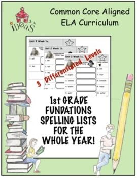 Differentiated and Common Core aligned weekly spelling lists for the entire first grade year!  Includes three differentiated levels with phonics words and trick words for every Fundations First Grade Unit! (Based on Fundations Level 1, Second Edition.)  Printables are ready to copy--make one to send home and one for a classroom spelling notebook.