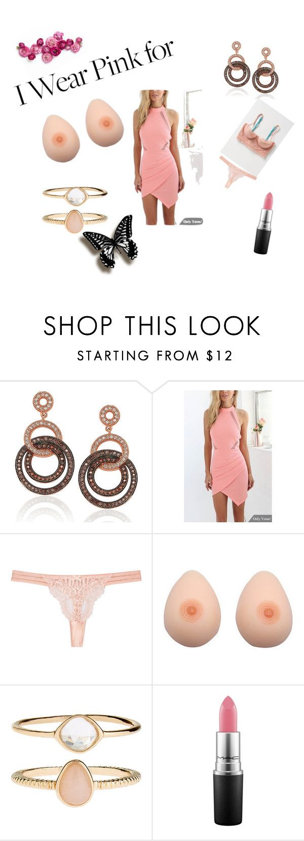 """""""Breast Cancer Awareness Month, Check the Ta tas!"""" by pkgabriel on Polyvore featuring Suzy Levian, STELLA McCARTNEY, Accessorize, MAC Cosmetics and IWearPinkFor"""