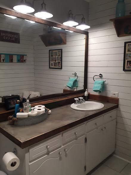 Guest Bathroom Redo With Shiplap & Concrete Counter Top