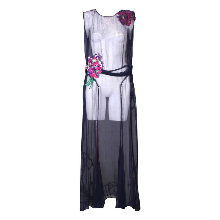 """Wonderful 1930s """"Hidden"""" Bouquet Floral Evening Dress"""