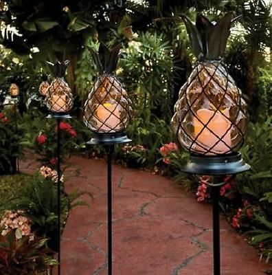 tropical outdoor lighting. outdoor tropical tiki glass pineapple pathway stake candle lantern garden light lighting