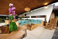 The living room, open air concept, tropical living beside the saltwater pool.