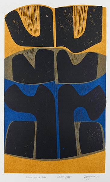 black wood blue - woodcut & stencil print - peter green, 1971