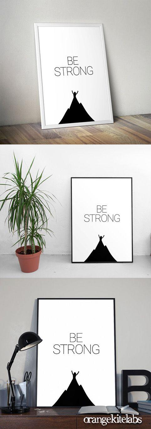 Printable poster be strong, # illustration #downloadable_print #printable_art #minimalist_poster #modern_home_decor #kid_room_art