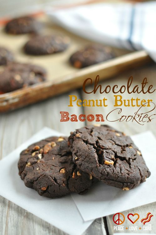 Chewy Chocolate Peanut Butter Bacon Cookies - Low Carb, Gluten Free