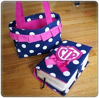Scripture cover and tote - no pattern but super cute ideas!