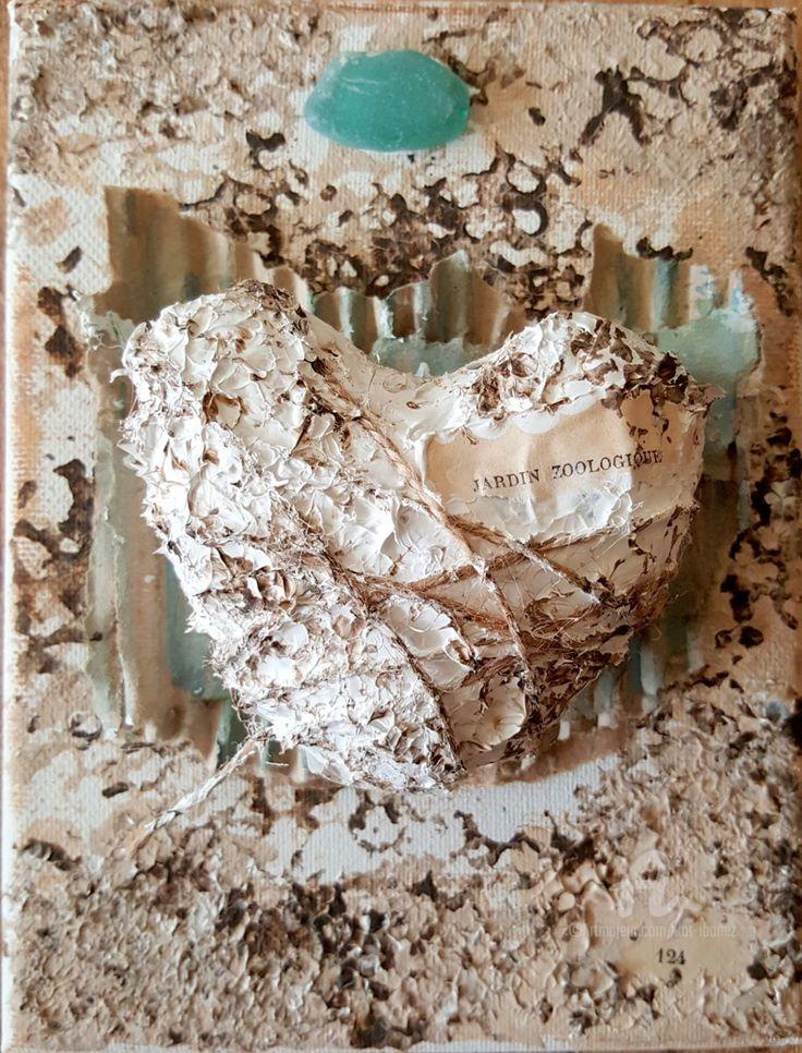 Cadaqués - Pintura,  14x18 cm ©2016 por Kat Ibañez -                                                                                                        Arte écológico, Paper arts (Arte de papel), Lienzo, Otro, Papel, Vidrio, Amor / Romance