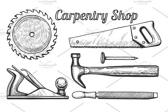 Woodworking or carpentry tools by CatMadePattern on @creativemarket