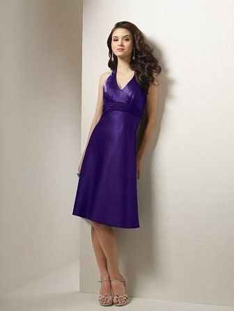 Buy Satin Sexy V Neckline with Elegant Sash Cocktail Length A Line Bridesmaid Dresses Online Dress Store At LuckyGown.com