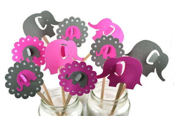 Bright Pink & Grey Elephant Cake Toppers Pink by sunshowerstuff