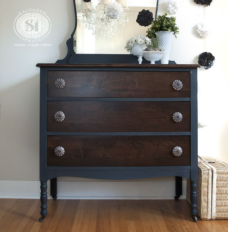 The Top And Drawers Were Dark Stained With General Finishes Java Gel Stain  And Protected With