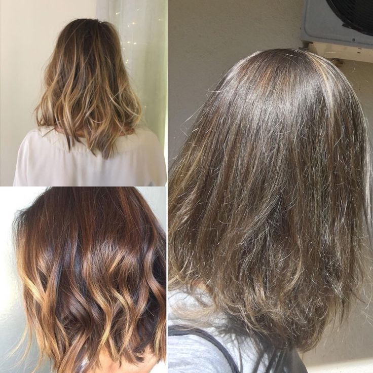 Pics on the left were what I asked for. Pic on the right is my hair. I also asked for a couple of blonde streaks that would go higher up my hair to mask greys but wanted them hidden so regrowth wouldn't be as obvious. I said no stripes though but have one stripe at the front that is horrid. Ugh.