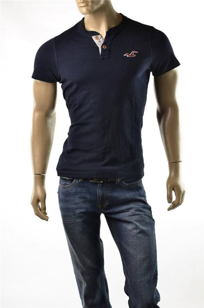 Hollister Polo Shirt Mens Navy NWT S/S Henley T Shirts ...