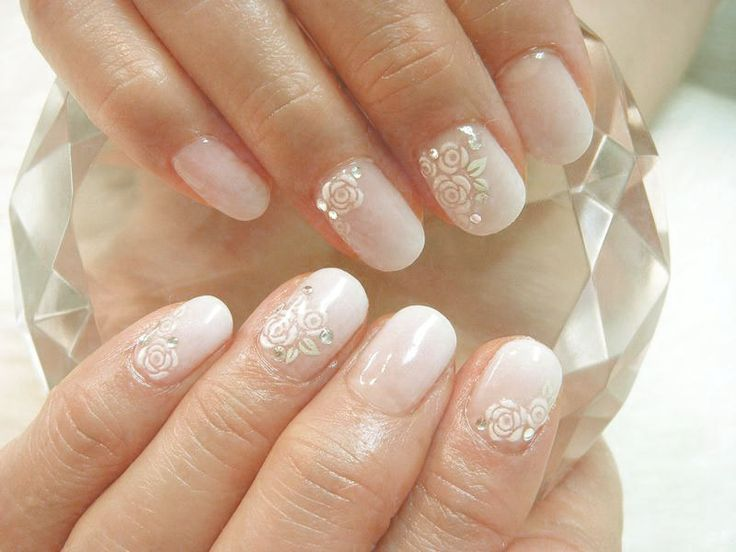 Bridal Wedding Stones Nail Art Designs French Manicure Design Ideas Also With The Touch Of Crystal And Diamonds