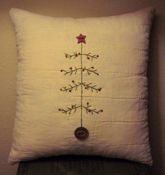 Primitive Hand Embroidered Christmas Tree Quilt by naturalaccents