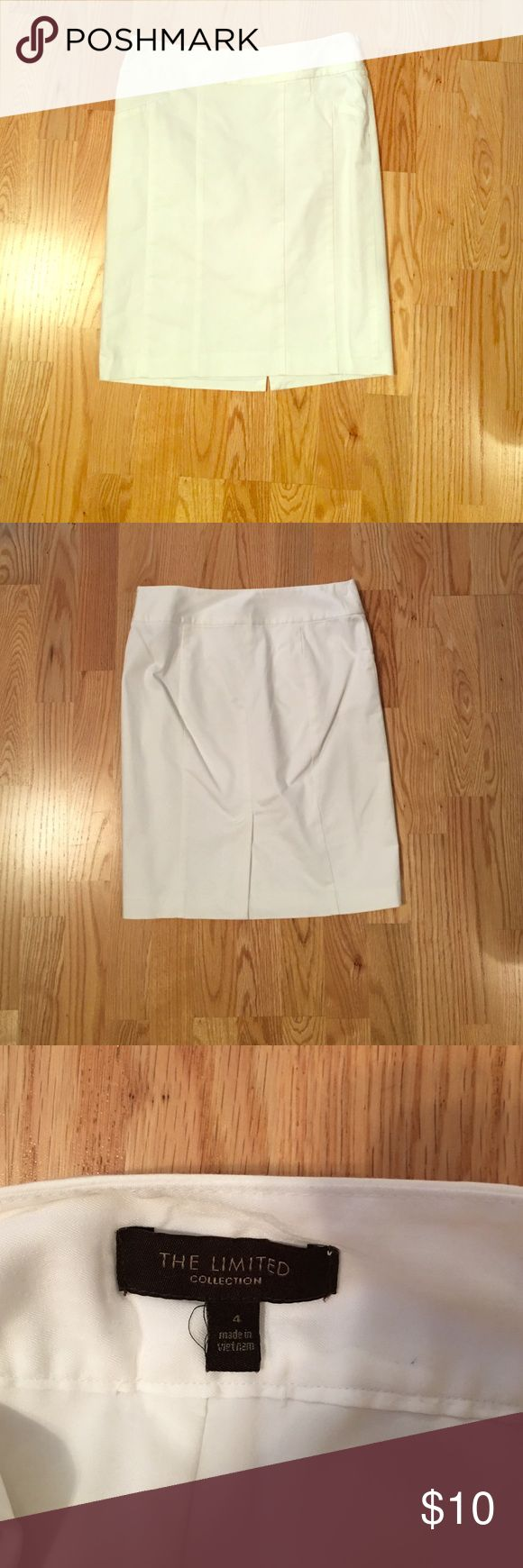 White pencil skirt Lined pencil skirt with side zip closure and lobster clasp. True white. The Limited Skirts Pencil