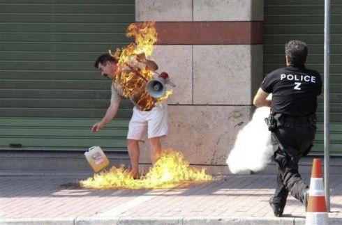The most memorable images of 2011: Burning Man, Burning Fire, Thessaloniki Greece, Man Burning, Banks Branches, Loan Payment, Old Man, Debtridden Greece, Man Sets