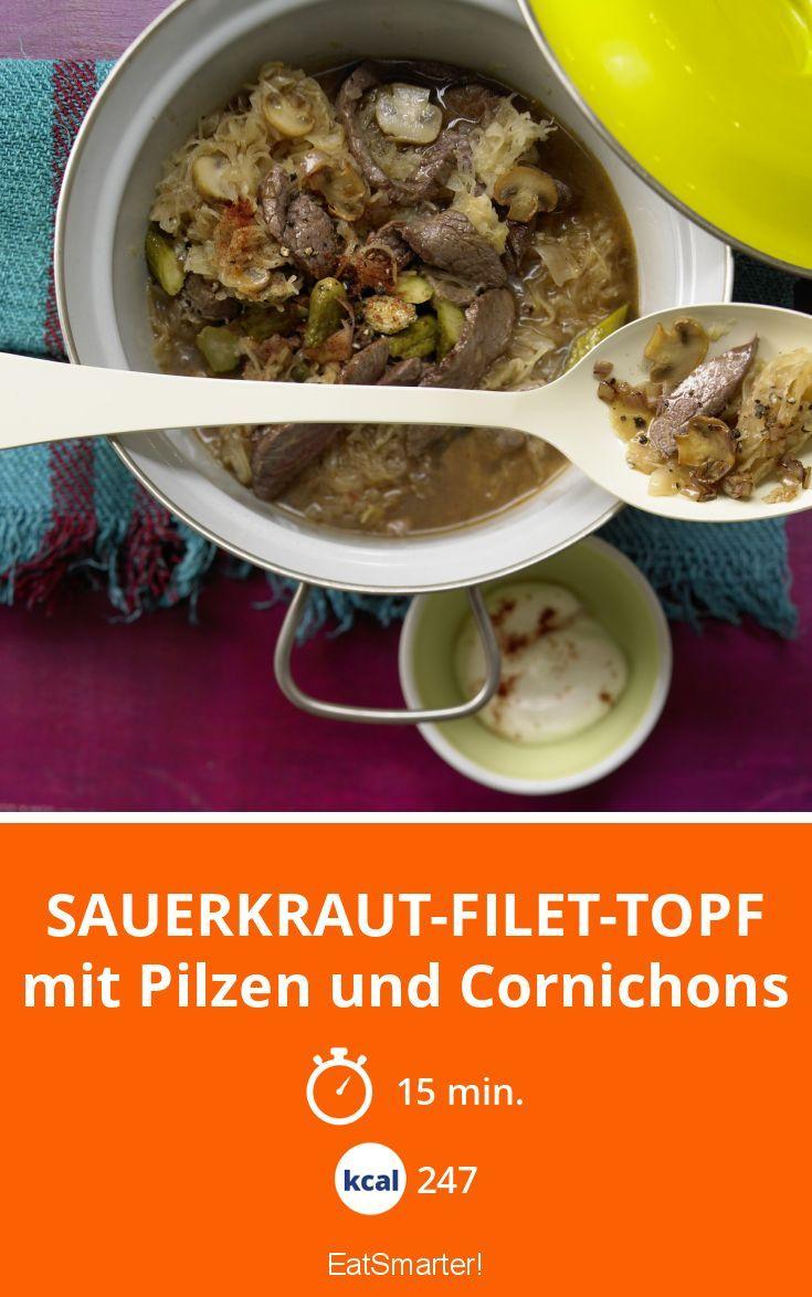 Sauerkraut-Filet-Topf - mit Pilzen und Cornichons - smarter - Kalorien: 247 kcal - Zeit: 15 Min. | eatsmarter.de