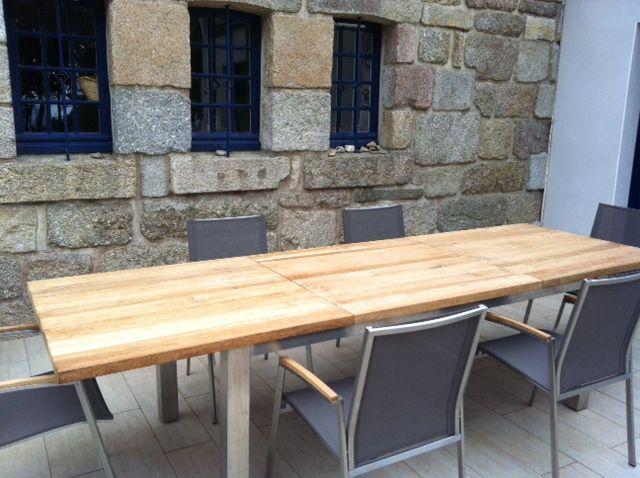 Granit teck inox table d 39 exterieur et chaises - Table teck exterieur ...