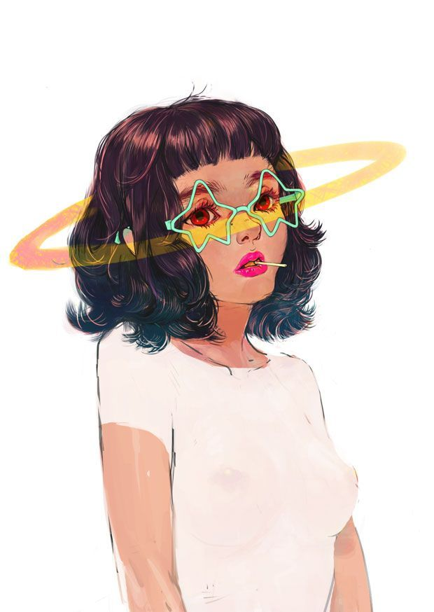 lollipop, pink lipstick, star shaped teal sunnies, that sweet haircut. i really love this illustration.