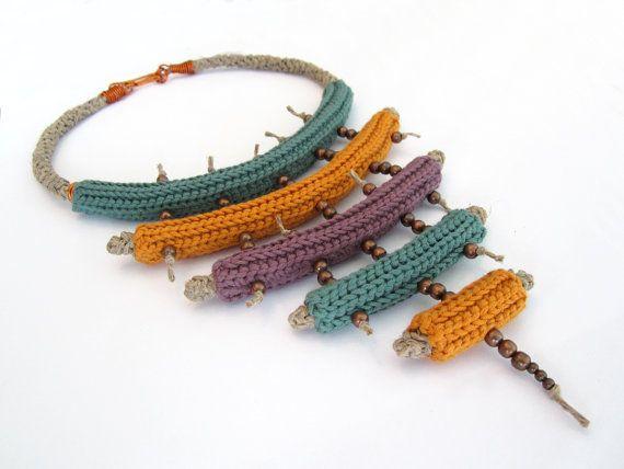 Crochet necklacetribal necklacestatement by GiadaCortellini