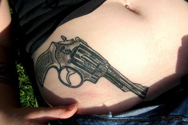 109 best images about girls with gun tattoos on pinterest for Gun tattoos for girls