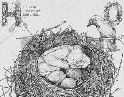 Home  October, 2016 __ A personal handmade illustration inspired by the album Home by the dutch band The Gathering and using mechanical pencil on B2 Fabriano® Accademia 200g paper for a rough and cracked technique to describe the concept of birth. __