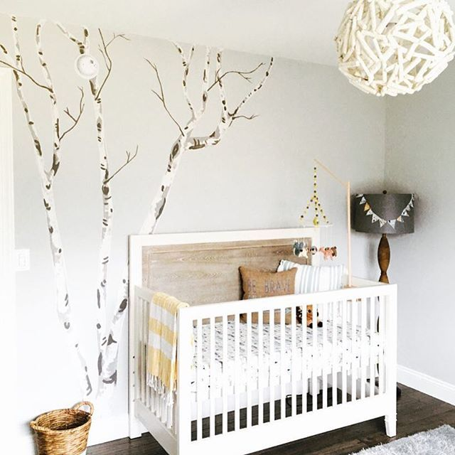 Woodland nursery done right! We love all the different ways to integrate birch trees for a rustic touch in the nursery. via @lrosied