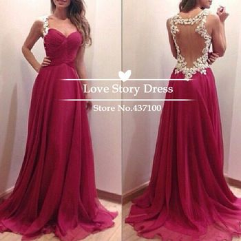 $118.9-Vestidos De Fiesta 2014 New Fashion Sweetheart Floor Length Evening Gowns Sexy Sheer Open Back Chiffon Long Prom Dresses